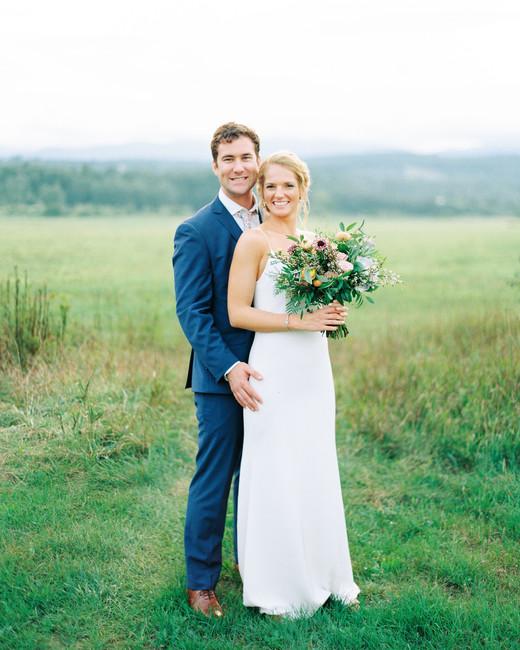 lauren josh wedding couple in field