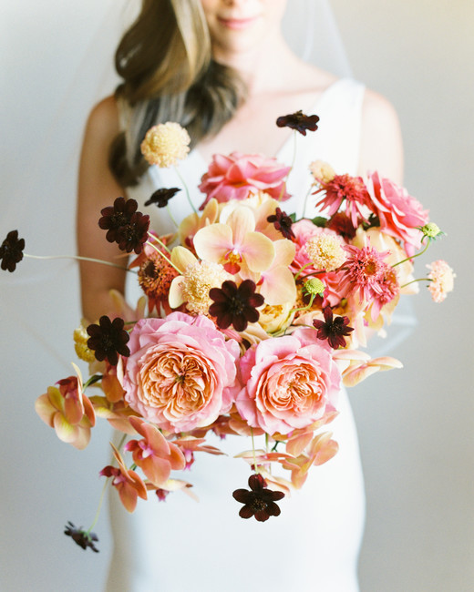 paige matt wedding bouquet pink flowers