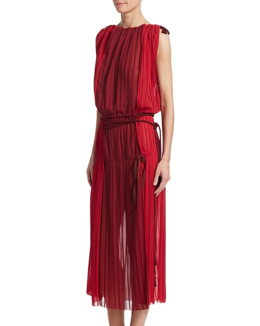 red belted Chiffon maxi Dress