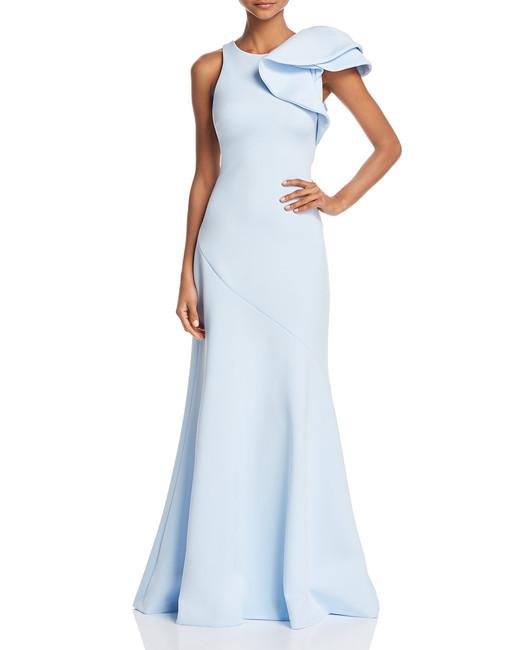 Avery G Ruffle-Shoulder Scuba Gown