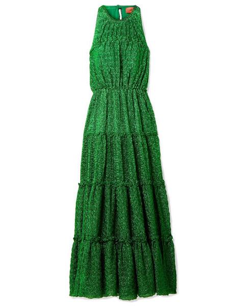Missoni Tiered Metallic Stretch-Knit Dress