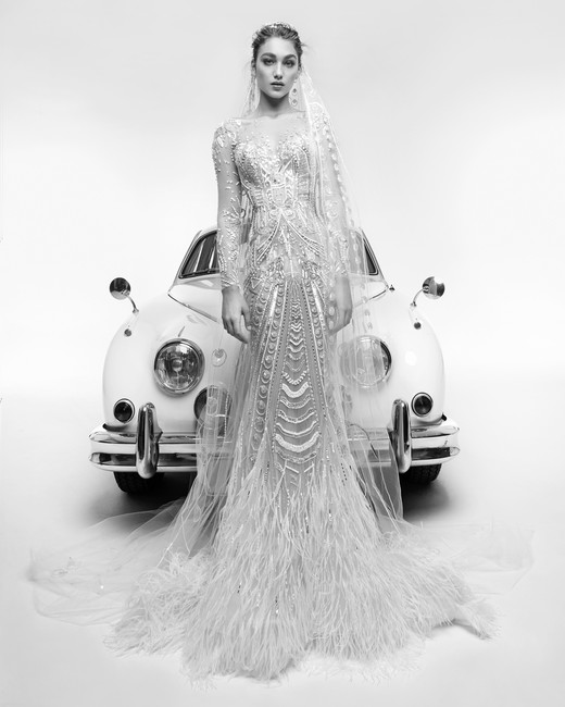 zuhair murad wedding dress spring 2019 feather mermaid