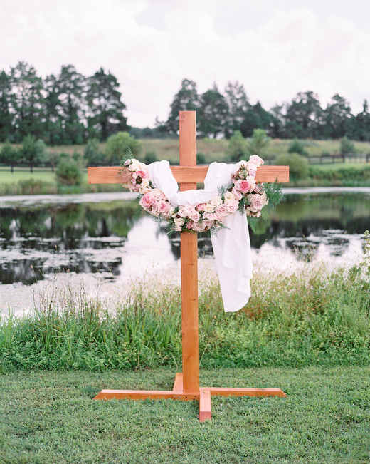 custom wooden cross alter outside