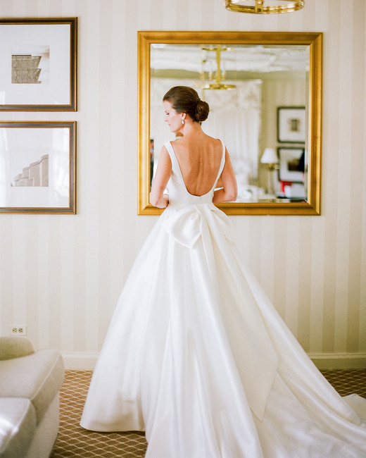 open back large bow long train ivory a-line wedding dress