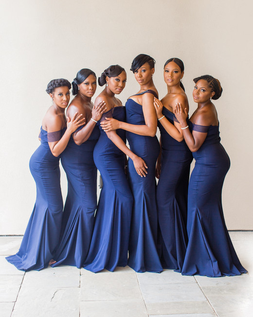 chic bridesmaids navy blue elegant gowns
