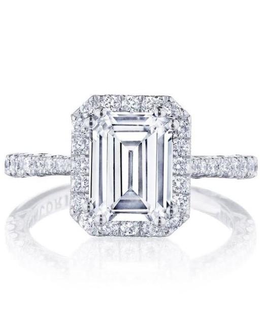 emerald cut ring diamond set band