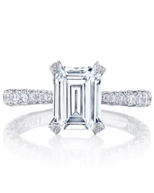 emerald cut ring platinum diamond set band