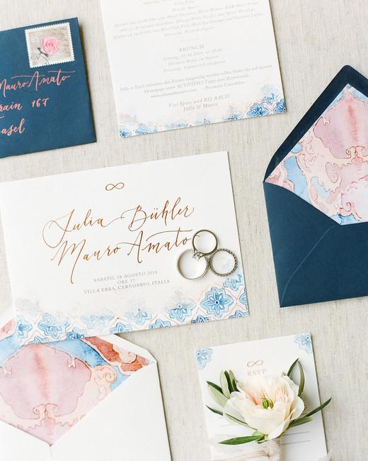 julia mauro wedding blue and pink invitations