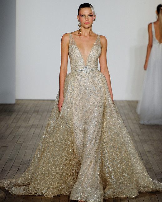 lazaro fall 2019 v-neck sheath gold glitter wedding dress