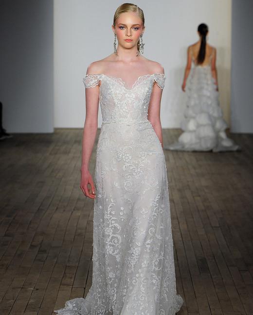lazaro fall 2019 over the shoulder sheath wedding dress