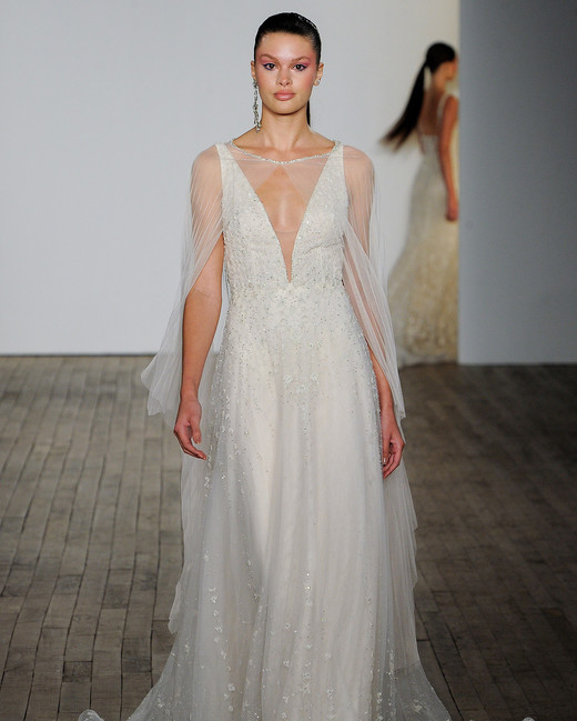 lazaro fall 2019 v-neck bell sleeves sheath wedding dress