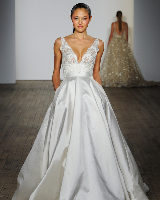 lazaro fall 2019 v-neck ball gown wedding dress