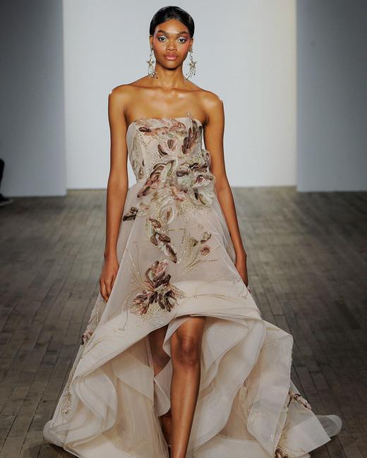lazaro fall 2019 strapless high-low wedding dress