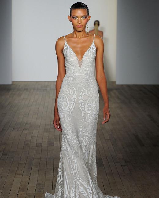 lazaro fall 2019 sheath spaghetti strip wedding dress