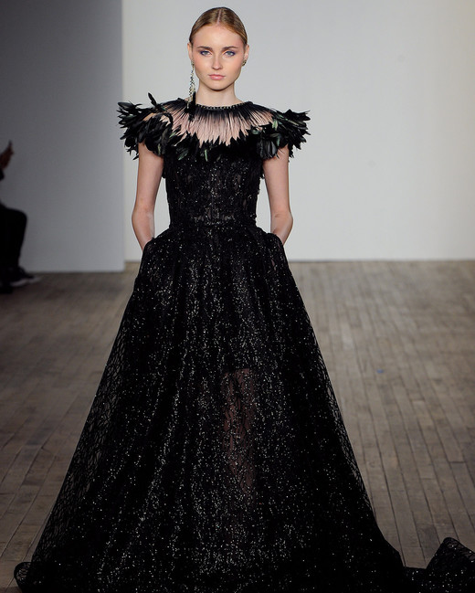 lazaro fall 2019 cap sleeve black ball gown wedding dress