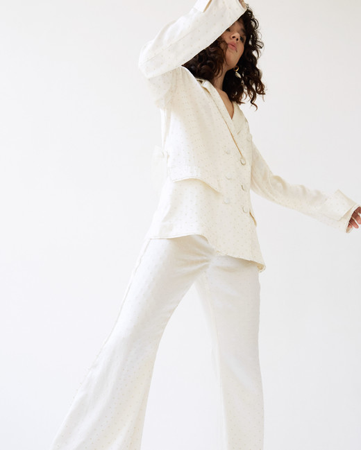 lein wedding dress spring 2020 separates white bell bottom pants buttoned blazer