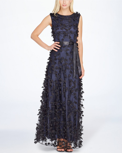 Tahari ASL Floral Applique Gown