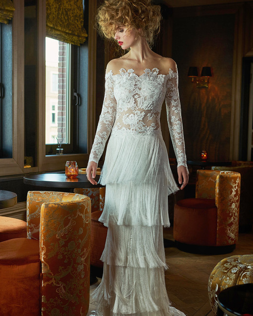 olvi wedding dress spring 2019 off-the-shoulder long sleeves fringed skirt