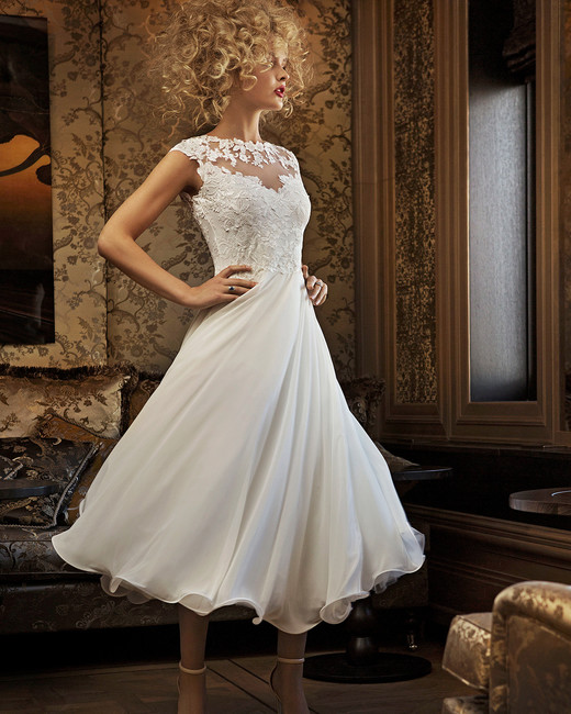 olvi wedding dress spring 2019 tea-length cap sleeves high neck