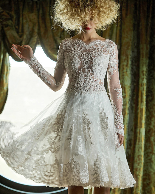 olvi wedding dress spring 2019 tea-length high neck long sleeves