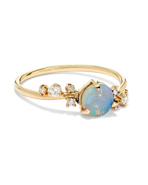 diamonds on gold band with round opal stone engagement ring