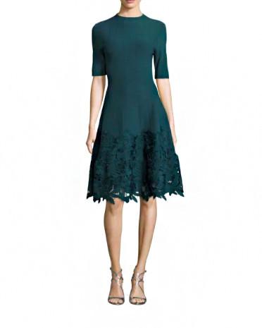 """Lela Rose """"Ottoman"""" Lace Hem Knit Dress"""