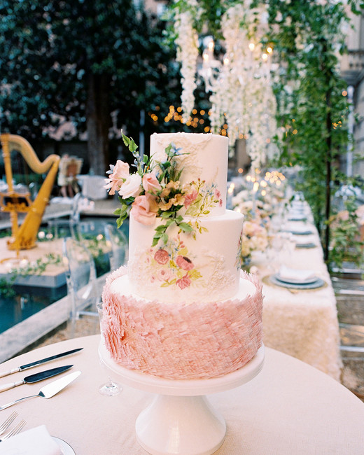 blush pink and floral three tiered wedding cake