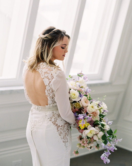 stephanie joe wedding bride in wedding dress with bouquet