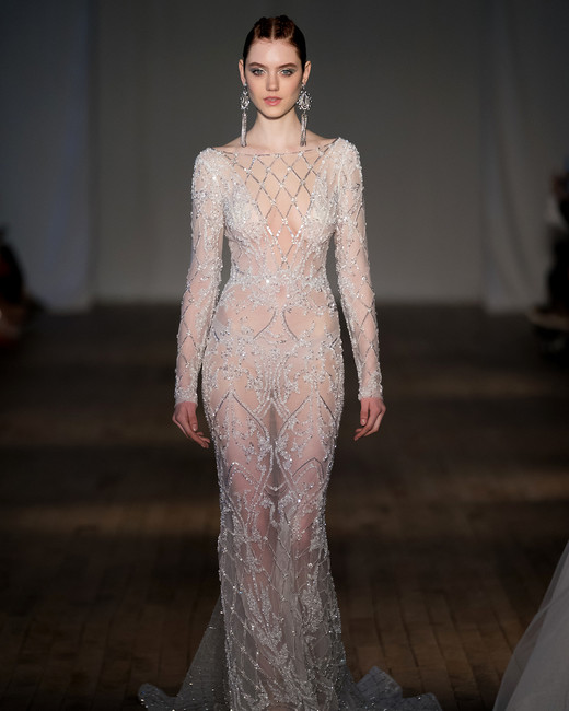 berta wedding dress spring 2019 sheer long-sleeved crystal details