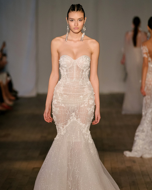 berta wedding dress spring 2019 strapless embroidered trumpet