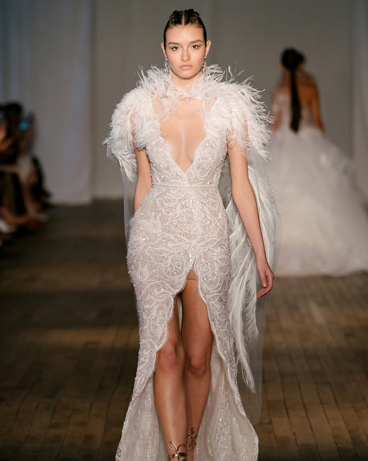 berta wedding dress spring 2019 scalloped slit feathered cape