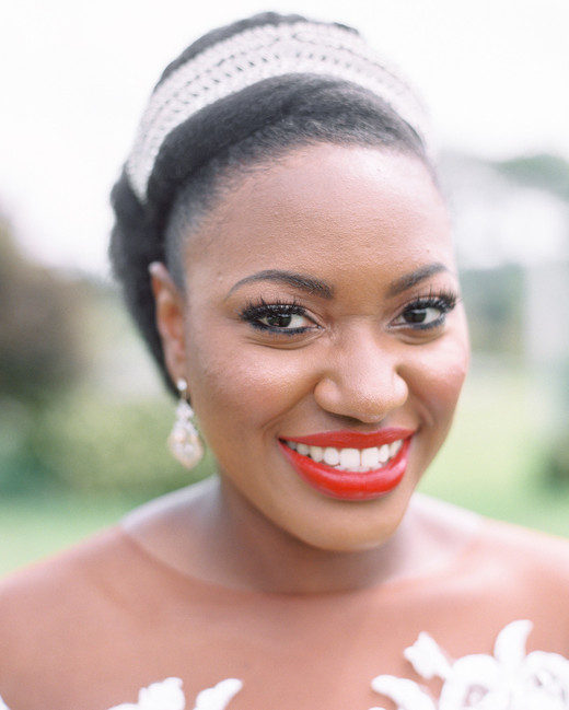 bride makeup close up with statement headpiece