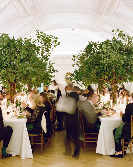 guests seated at reception tables for dinner