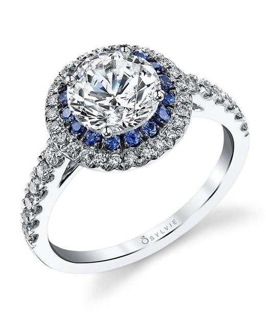 """Sylvie Collection """"Angele"""" Double Halo Engagement Ring"""