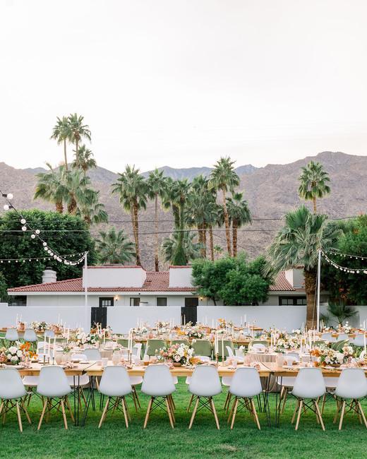 hanna will wedding outdoor reception palm trees