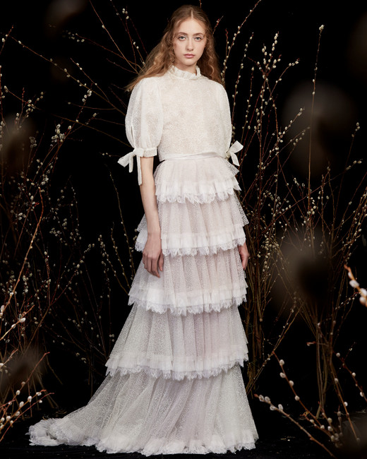 high-neck puffed sleeves bow hem tiered lace ruffles a-line wedding dress Honor Spring 2020