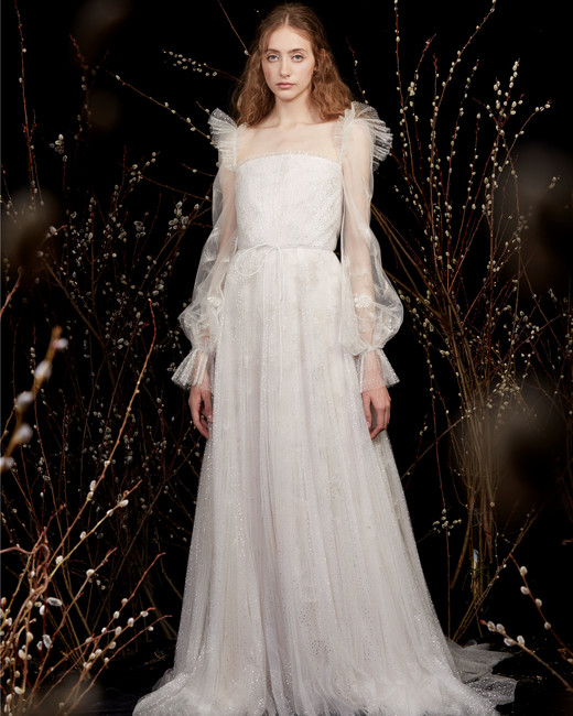sheer lace puffed long sleeves high-neck glitter tulle a-line wedding dress Honor Spring 2020