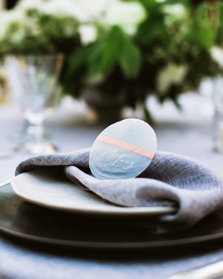 modern wedding twisted napkin on plate