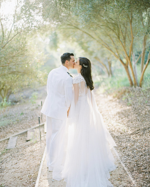 paige zack wedding couple kissing in forest