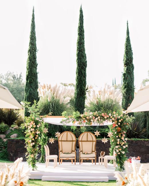 outdoor wedding ceremony in garden area