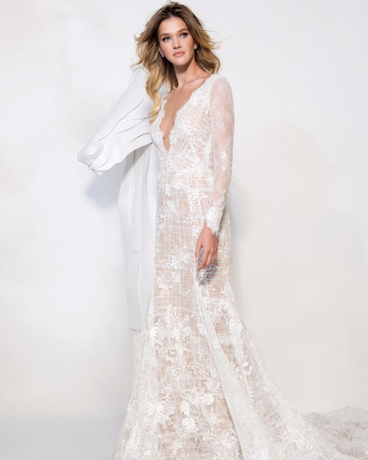 persy wedding dress spring 2019 long sleeve lace a-line gown