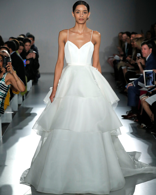 727045e716fe spaghetti strap sweetheart neckline tiered a-line wedding dress Amsale  Spring 2020