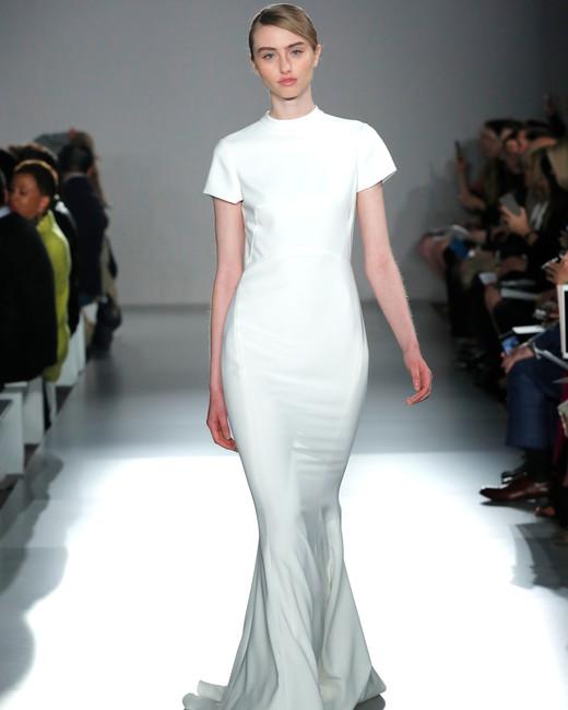 high neck short sleeve semi mermaid wedding dress Amsale Spring 2020