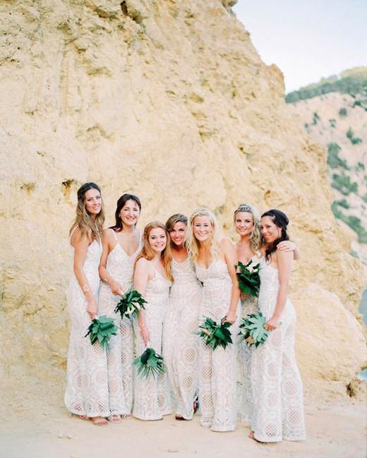 women in desert wearing bridesmaids jumpsuits