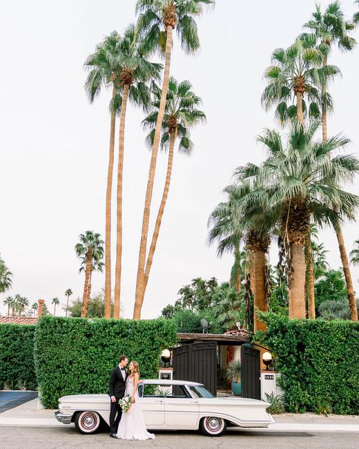 hanna will wedding couple car under palm trees