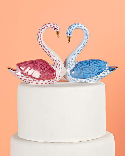 kissing swans cake topper