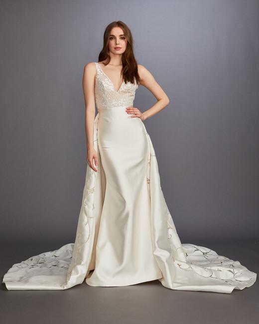 thick spaghetti strap v-neck lace overskirt a-line wedding dress Lazaro Spring 2020