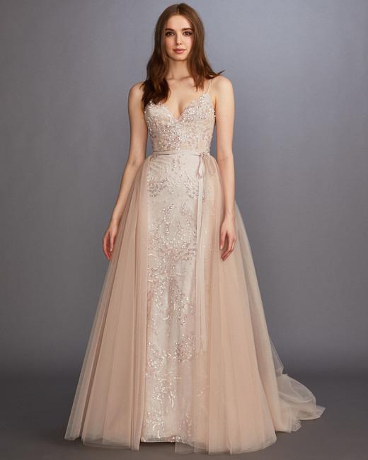 0e2a3ed4758 spaghetti strap v-neck glitter beading tulle overskirt a-line wedding dress  Lazaro Spring