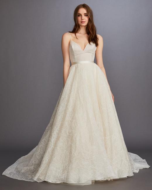 b5f1069adbc spaghetti strap v-neck belted a-line wedding dress Lazaro Spring 2020