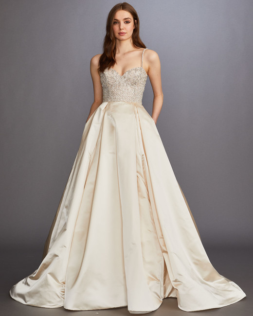 glitter beaded spaghetti strap and bodice sweetheart a-line wedding dress Lazaro Spring 2020